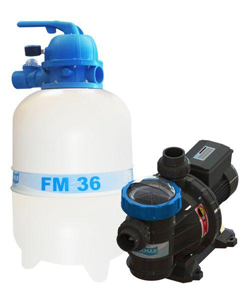 Filtro FM-36 e Bomba 1/3cv BMC-33 Mono p/ piscinas de até 40 mil litros