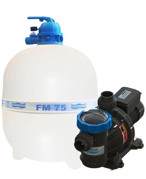 Filtro FM-75 e Bomba 1,5cv BMC-150 Mono p/ piscinas de até 176 mil litros