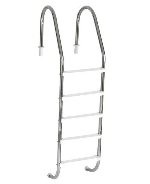 Escada Tradicional 2´´ em Aço Inox 5 Degraus Anatômicos em ABS