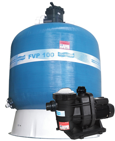 Filtro FVP-100 com areia e Bomba 2cv BMS-200 Mono p/ piscinas de até 256 mil litros