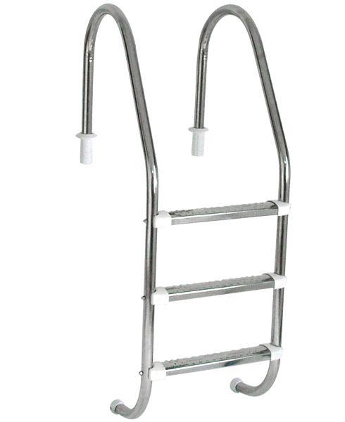 Escada Tradicional 1 1/2´´ em Aço Inox 3 Degraus Anatômicos em Inox
