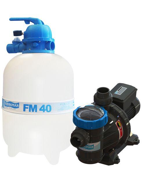 Filtro FM-40 e Bomba 1/2cv BMC-50 Mono p/ piscinas de até 50 mil litros