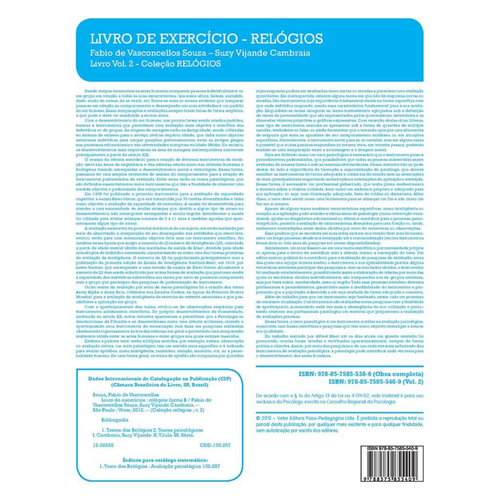 Livro de Exercício - Relógios Forma B