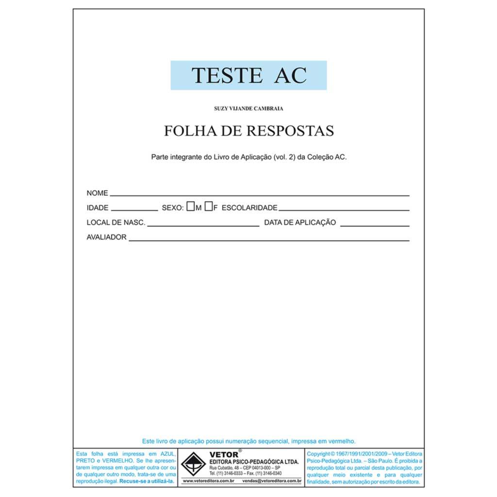 AC Livro De Aplicação - Atenção Concentrada