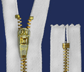Zíper de metal 04.5 médio fixo dourado p/ tingir Coats ref. 416U 326 (GC 459M) c/ 1 un