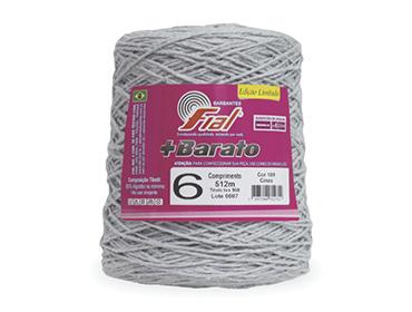 Barbante colorido Fial + Barato nº 6 ref. cinza c/ 512 m