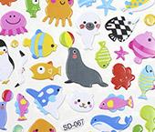 Cartela Adesiva 3D - Animais marinhos