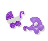 Botão infantil de plástico Sp ref. carrinho de bebê lilás c/ 24 un