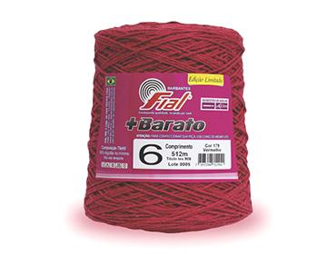 Barbante colorido Fial + Barato nº 6 ref. vermelho c/ 512 m