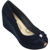 Sapato Feminino Miss Miss Peep Toe Flocado 9675 Marinho