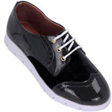 Sapato feminino Oxford Kalyta Camurça 4008 Preto