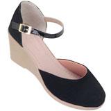 Sapato feminino Via Bella de Veludo 1134 Preto Lona