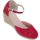 Sapato feminino Via Bella de Veludo 1134 Vermelho