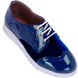 Sapato feminino Oxford Kalyta Camurça 4008 Azul