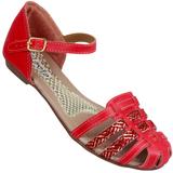 Sand�lia Flavia 504 Vermelho/Ouro