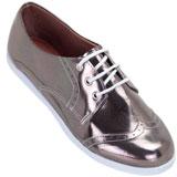 Sapato feminino Oxford Kalyta 4007  Prata Onix
