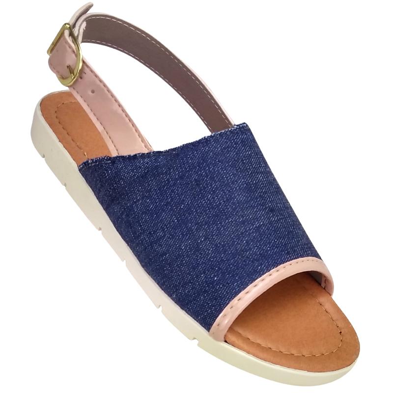 2873cfe8e0 Sandália Avarca Jeans-Azul Ana Julia 916