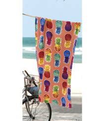 Toalha Praia Dohler Velour - Colorful Pineapples - 76x152cm
