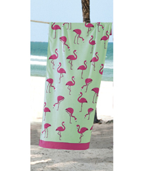 Toalha Praia Dohler Velour - Multi Flamingos - 76x152cm