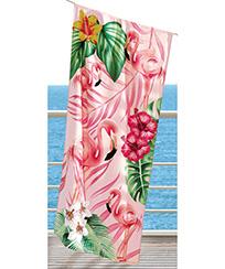 Toalha Praia Dohler Velour - Flamingos 02 - 76x152cm