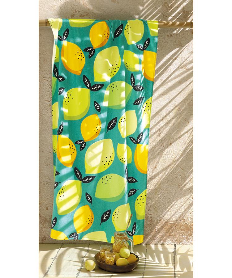 Toalha Praia Dohler Velour - Lemon - 86x162cm
