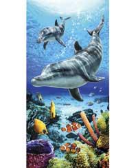 Toalha Praia Dohler Velour Dolphins Life Blue - 76x152cm