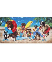 Toalha Praia Dohler Velour - Dogs At The Beach - 76x152cm