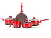 Conjunto de Panelas Brinox 5 peças Smart Ceramic Vermelha