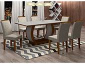Mesa Rufato Jade com 6 cadeiras Athenas Off White