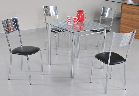 Conjunto de Mesa Modecor Cristal 50252 com 4 Cadeiras