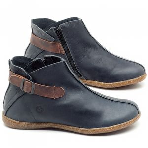 Flat Boot em couro Azul Marinho - Código - 137144