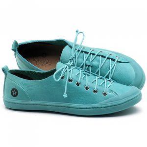 Tênis Cano Baixo em couro Azul Piscina - Código - 141112