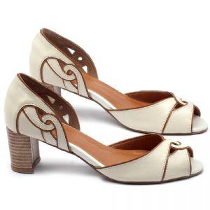 Peep Toe Salto Medio de 6cm em couro off-white - Código - 3437