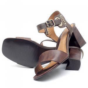 Sandália Salto de 6cm em couro Marrom Tan - Código - 56170