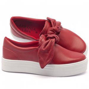 Tênis Cano Baixo em couro vermelho - Código - 99057