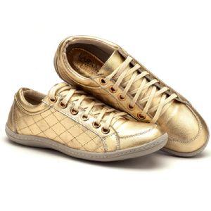 Tênis Cano Baixo Dourado Matelassê 116006