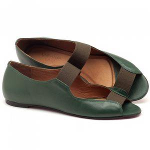 Sapatilha Bico Aberto em couro verde militar - Código - 56030
