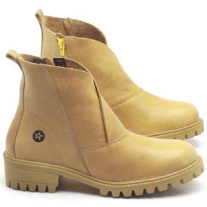 Bota Cano Curto em couro Amarelo - CÓDIGO - 137238