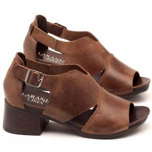 Sandália Boho em couro marrom com salto de 5cm - Código - 137103