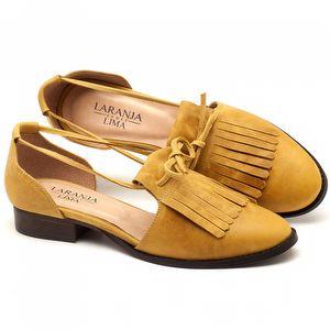 Oxford Flat em couro amarelo com salto de 2cm - Código - 9433