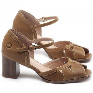 Sandália Salto Médio de 6cm em couro Caramelo - Código - 3691