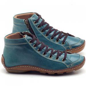 Tênis Cano Alto em couro azul celeste - Código - 136030