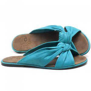Rasteira Flat em couro Azul Piscina - Código - 3669