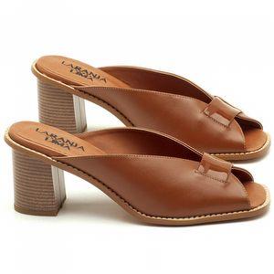 Sandália Salto de 7cm em couro Caramelo - Código - 3571