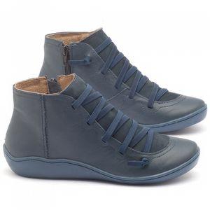 Tênis Cano Alto em couro azul marinho - Código - 139003