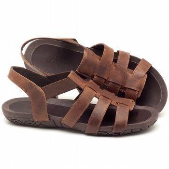 Rasteira Flat em couro marrom - Código - 56143