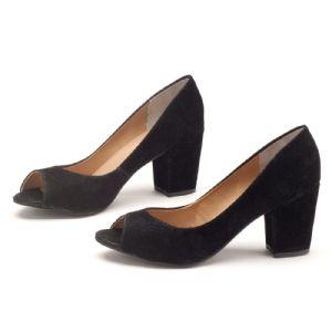 Peep Toe Salto Medio de 6 cm Preto com Salto Forrado 9338