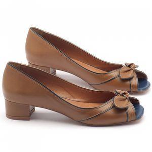 Peep Toe Salto Baixo baixo de 4cm em couro havana - Código - 3473