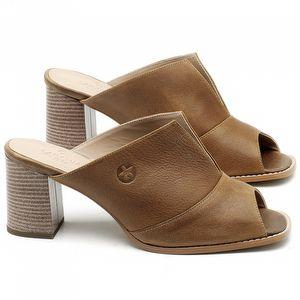 Sandália Salto Médio de 6cm em couro Marrom Conhaque - Código - 3659