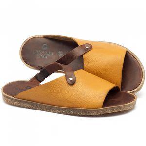 Rasteira Flat em couro amarelo com marrom - Código 141056